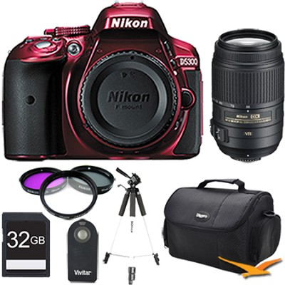 D5300 DX-Format 24.2MP DSLR (Red) 55-300mm VR Pro Lens and Memory Bundle