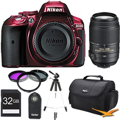 D5300 DX-Format 24.2MP DSLR (Red) 55-300mm VR Pro Lens and Memory Bundle