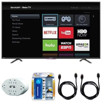 N4000 Full HD 50` Class WiFi Roku 60Hz LED Smart TV w/ Hook up Bundle