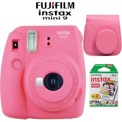 Instax Mini 9 Instant Camera Flamingo Pink Bundle w/ Pink Case & Twin Pack Film