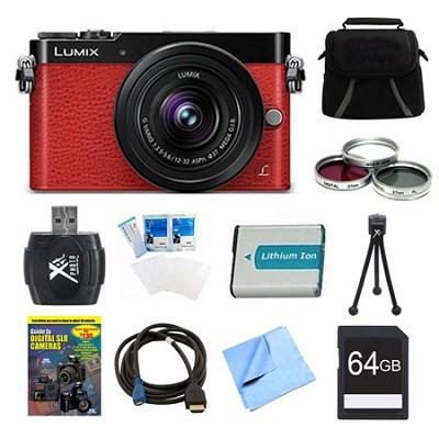 LUMIX GM5 DSLM Red Camera Plus 12-32mm Lens 64GB Bundle