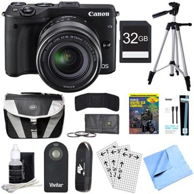 EOS M3 Wi-Fi Digital ILC Black Camera EF-M 18-55mm IS STM Lens 32GB Bundle