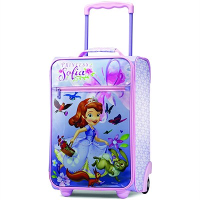 18` Upright Kids Disney Themed Softside Suitcase (Sofia the First)