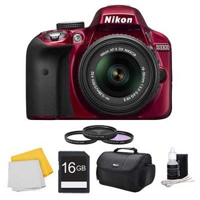 D3300 DSLR HD Camera Red, 18-55mm Lens, 16GB Card, Case, and Filter Bundle