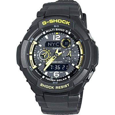Men's GW3500B-1A G-Shock Aviator Series Analog-Digital Black and Yellow Watch