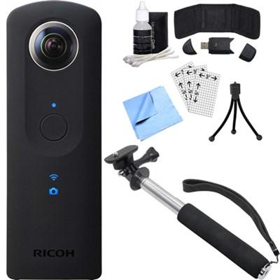 Theta S 360-Degree Spherical Digital Camera w/ Selfie Stick + Accessory Bundle