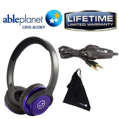 SH190 Travelers Choice Stereo Headphones w/ LINX AUDIO & Inline Volume - Purple