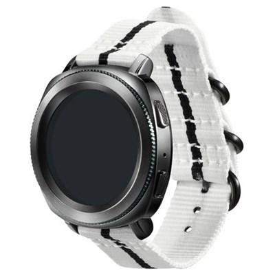 Premium Nato Strap for Gear Sport (20mm)-White w/ Black-GPR600BREECAC