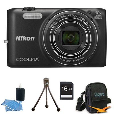 COOLPIX S6800 16MP 1080p HD Video Digital Camera Black 16GB Kit Refurbished