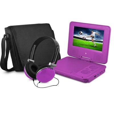 7` Swivel Portable DVD Player with Headphones and Bag in Purple - EPD707PR
