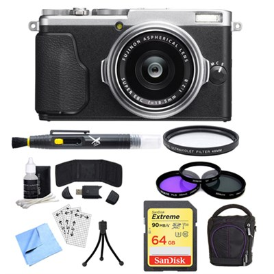 X-70 X Series Silver Digital Camera with 18.5mm Lens, 64GB Card, and Case Bundle