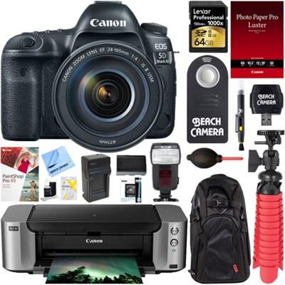 EOS 5D Mark IV DSLR Camera w/ 24-105mm IS II USM Lens + PIXMA PRO Printer Bundle