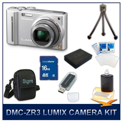 DMC-ZS5S LUMIX 12.1 MP Digital Camera (Silver), 16GB SD Card, and Camera Case
