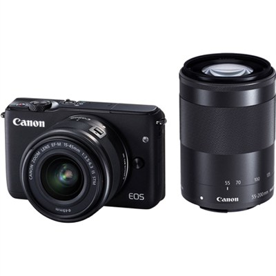 EOS M10 Camera with EF-M 15-45mm IS STM + EF-M 55-200mm IS STM Lenses (Black)