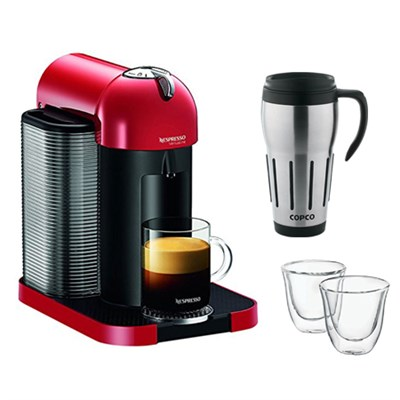 VertuoLine Coffee and Espresso Maker w/ Thermo Espresso Glasses & Travel Mug