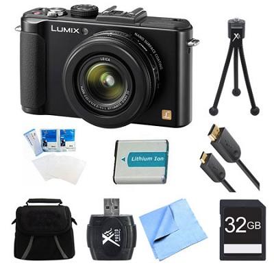 LUMIX DMC-LX7 Black Digital Camera 32GB and Battery Bundle