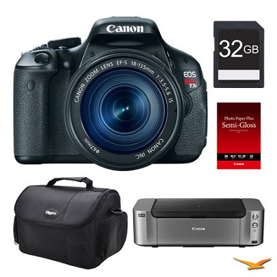 EOS T3i DSLR Camera 18-135mm Lens, 32GB, Printer Bundle