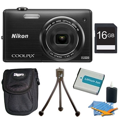 COOLPIX S5200 16 MP Built-In Wi-Fi Digital Camera - Black Plus 16GB Memory Kit