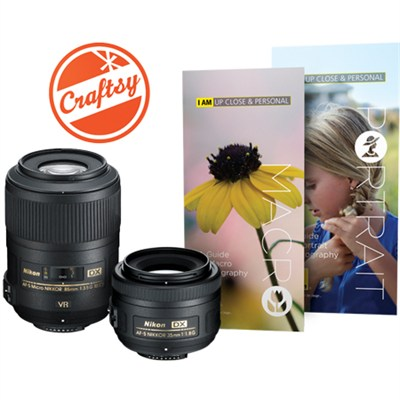 Macro & Portrait 85mm f/3.5 and 35mm f/1.8 Two Lens Kit For Nikon SLR Cameras