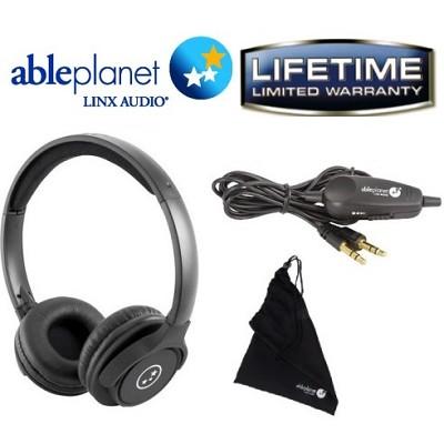 SH190 Travelers Choice Stereo Headphones with LINX AUDIO & Volume Control -Black