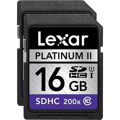 16 GB Platinum II SD/SDHC UHS-I  (200x) (Large Blister) 2-Pack - LSD16GBSBNA2002