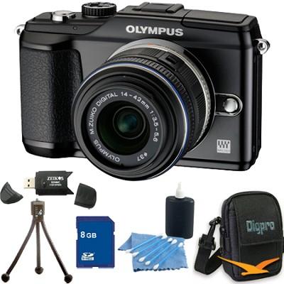 PEN E-PL2 12.3 MP 3-inch LCD Digital SLR Camera 14-42 Lens Black 8GB Kit