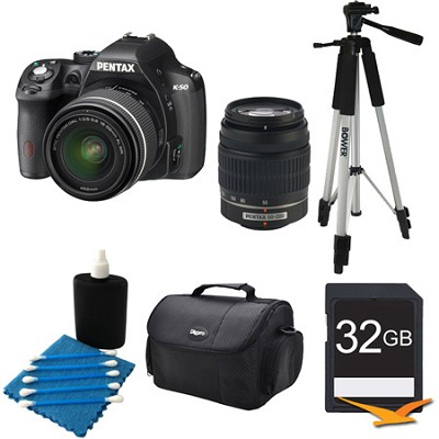 K-50 Digital SLR Camera Zoom Kit w/ DA L 18-55mm & 50-200mm Lens BLK 32GB Bundle