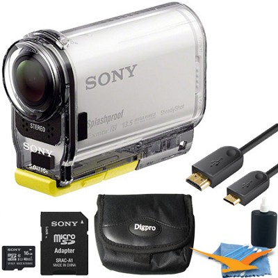 HDR-AS100VR/W High Definition POV Action Camera + Live View Remote 16GB Kit