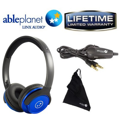 SH190 Travelers Choice Stereo Headphones with LINX AUDIO and Volume Control-Blue