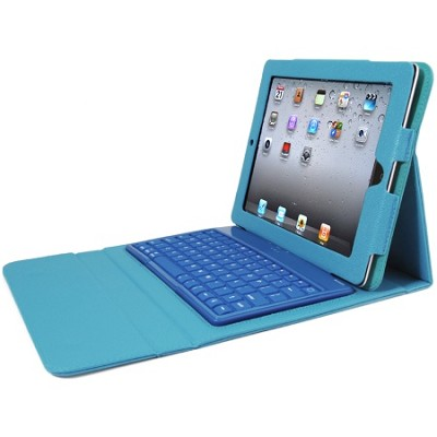 Faux Leather Case with Built-in Bluetooth Keyboard for iPad 2, 3, & 4 - Blue