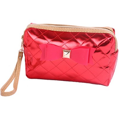 Bow Diva Designer-inspired Quilted Metallic Case - Red