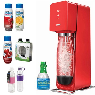 Source Home Soda Maker Starter Kit, Red with Bundle