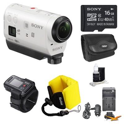 HDR-AZ1VR/W POV HD Camcorder with Live View Remote 16GB Bundle