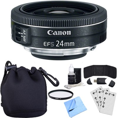 EF-S 24mm f/2.8 STM Camera Lens w/ Essential Photography Accessory Bundle