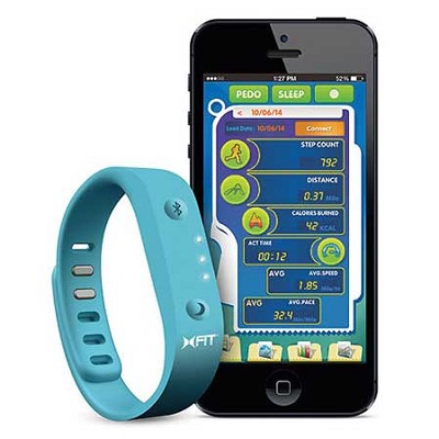 XFit Fitness Band Wireless Activity Sleep Monitor Wristband - Turquoise/Grey