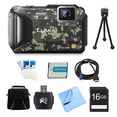 LUMIX DMC-TS6 WiFi Tough Camouflage Digital Camera 16GB Bundle