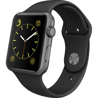 Watch Sport 42mm Space Gray Aluminum Case - Black Sports Band, Refurbished