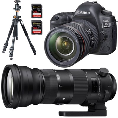 EOS 5D Mark IV Full Frame DSLR Camera + 24-105mm + Sigma 150-600mm Lens Bundle