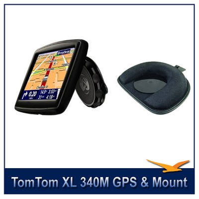 XL 340M Widescreen Car Navigator GPS + TomTom GPS Dashboard Mount