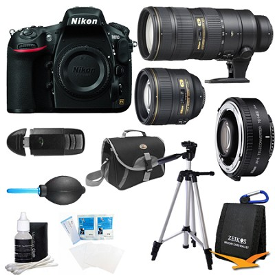 D810 36.3MP 1080p HD DSLR Camera Body w/ 70-200mm, and 1.4x Teleconverter Bundle