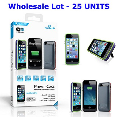 Apple Certified 2400mAh Power Case for iPhone 5/5s, Black - 25 Pc. Wholesale Lot