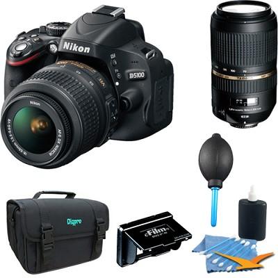 D5100 DX-format Digital SLR Body w/ 18-55mm & Tamron 70-300mm Lenses
