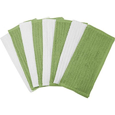 8 Pack Terry Utility Dish Cloth - Sage and White