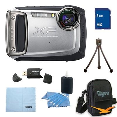 Finepix XP100 14MP CMOS Digital Camera 8 GB Bundle (Silver)