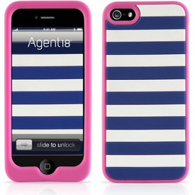 StripeVest Silicone Case for iPhone 5 - Blue/Pink