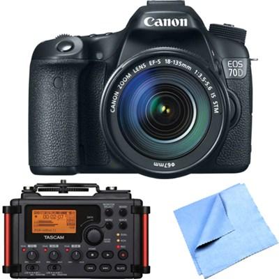 EOS 70D 20.2 MP CMOS DSLR Camera w/ EF-S 18-135mm IS STM Lens Recorder Bundle