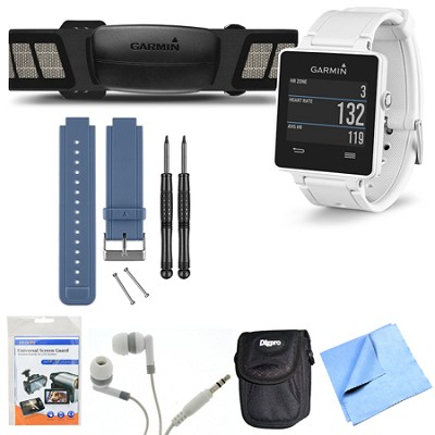 vivoactive GPS Smartwatch White with Heart Rate Monitor Blue Band Bundle
