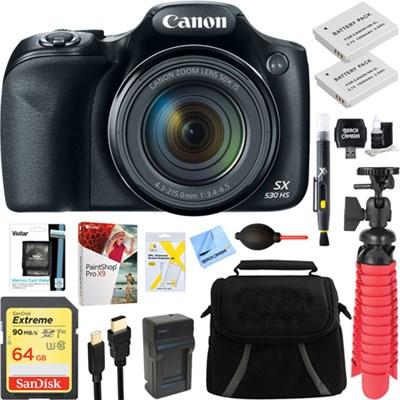 PowerShot SX530 HS 16.0MP Digital Camera (Black) + Spare Battery & Accessory Kit