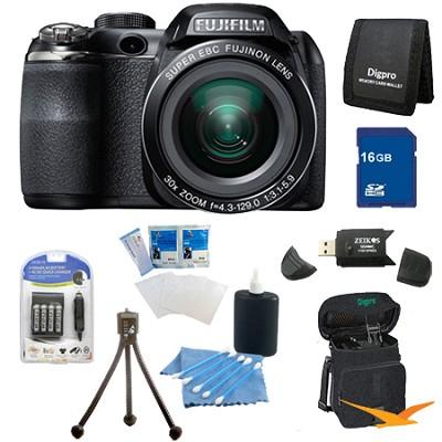 FinePix S4800 30x Optical Zoom 14 MP 3 inch LCD Digital Camera 16 GB Bundle