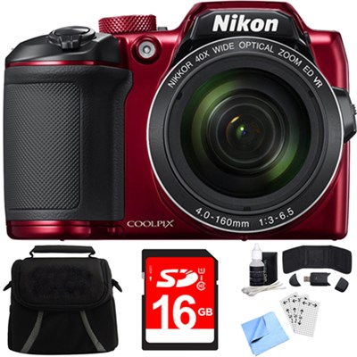 COOLPIX B500 16MP 40x Optical Zoom Digital Camera + Built-in Wi-Fi 16GB Bundle